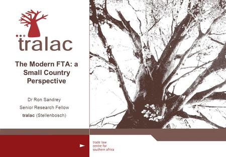 The Modern FTA: a Small Country Perspective Dr Ron Sandrey Senior Research Fellow tralac (Stellenbosch)