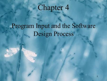 1 Chapter 4 Program Input and the Software Design Process.