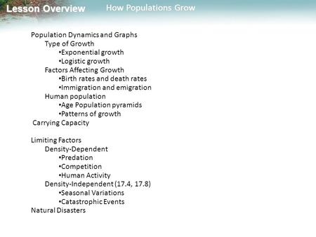 Lesson Overview Lesson Overview How Populations Grow Population Dynamics and Graphs Type of Growth Exponential growth Logistic growth Factors Affecting.