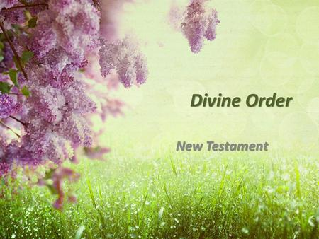 "Divine Order New Testament. Man's Role: headship Gen 3:16 Gen 3:16 – ""rule"" 1 Cor 11:3 1 Cor 11:3 – ""head"" Eph 5:23-25 Eph 5:23-25 – ""head"" Eph 6:4 Eph."