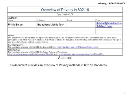 Privecsg-14-0012-00-0000 1 Overview of Privacy in 802.16 Date: 2014-10-08 Authors: NameAffiliationPhone Phillip BarberBroadband Mobile Tech