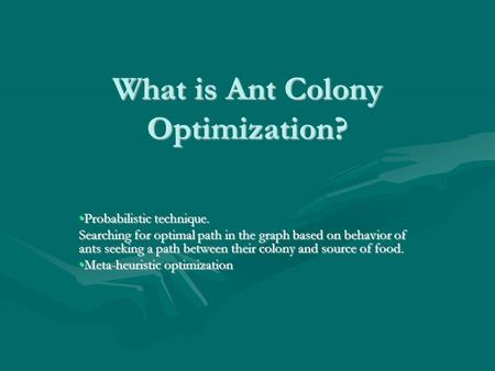 What is Ant Colony Optimization?