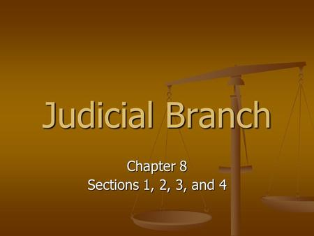 Judicial Branch Chapter 8 Sections 1, 2, 3, and 4.