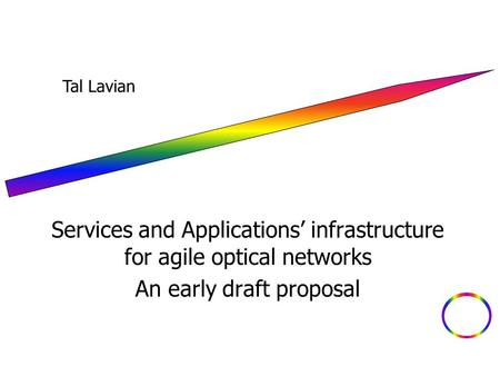 Services and Applications' infrastructure for agile optical networks An early draft proposal Tal Lavian.