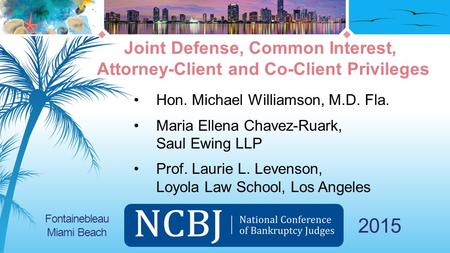 2015 Hon. Michael Williamson, M.D. Fla. Maria Ellena Chavez-Ruark, Saul Ewing LLP Prof. Laurie L. Levenson, Loyola Law School, Los Angeles Joint Defense,