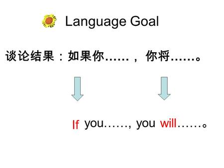 Language Goal 谈论结果:如果你 …… , 你将 …… 。 If will you……, you …… 。