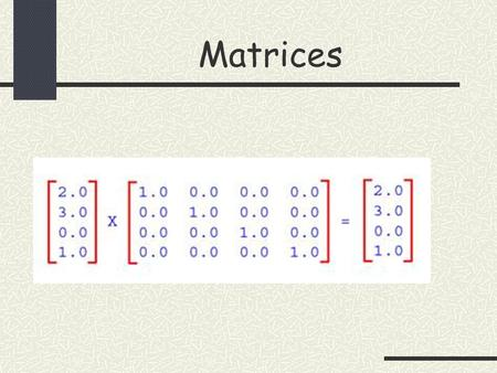 "Matrices. Matrices – How to write & What is Order AppleOrangePear Shop 110.50.3 Shop 2210.5 2 rows and 3 columns  Matrix has order 2x3 (read as ""2 by."