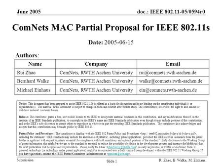 June 2005doc.: IEEE 802.11-05/0594r0 Submission R. Zhao, B. Walke, M. Einhaus. Slide 1 ComNets MAC Partial Proposal for IEEE 802.11s Notice: This document.