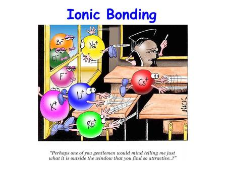 the formation of an ionic bond involves the Electron-gaining element that compounds are formed which involve electrostatic   the energetics associated with ionic bond formation may be determined.