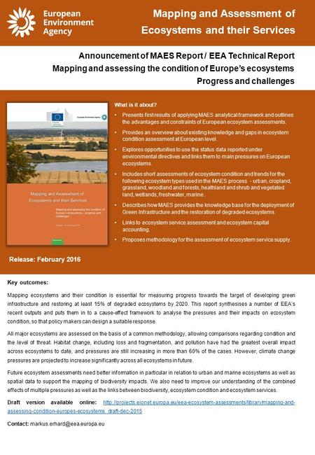 What is it about? Presents first results of applying MAES analytical framework and outlines the advantages and constraints of European ecosystem assessments.
