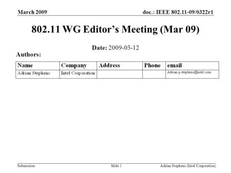 Submission doc.: IEEE 802.11-09/0322r1March 2009 Adrian Stephens (Intel Corporation)Slide 1 802.11 WG Editor's Meeting (Mar 09) Date: 2009-03-12 Authors: