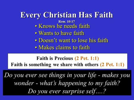 Every Christian Has Faith Rom. 10:17 Every Christian Has Faith Rom. 10:17 Knows he needs faith Wants to have faith Doesn't want to lose his faith Makes.
