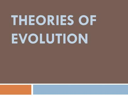 THEORIES OF EVOLUTION. Theories  Confirmed through tests and observations  Explain a wide variety of data and observations  Can be used to make predictions.