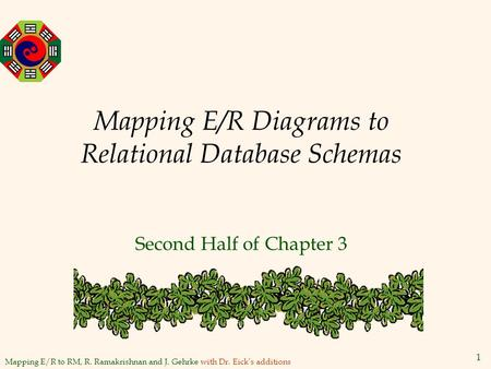 Mapping E/R to RM, R. Ramakrishnan and J. Gehrke with Dr. Eick's additions 1 Mapping E/R Diagrams to Relational Database Schemas Second Half of Chapter.