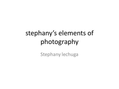 Stephany's elements of photography Stephany lechuga.