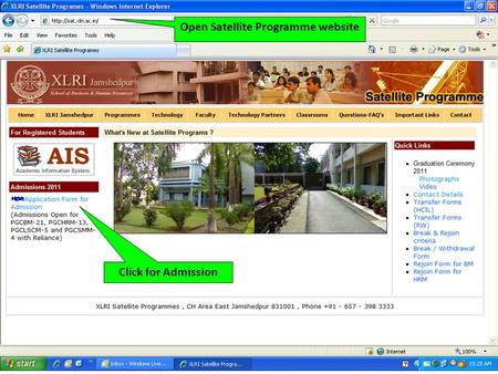 Click for Admission Open Satellite Programme website.
