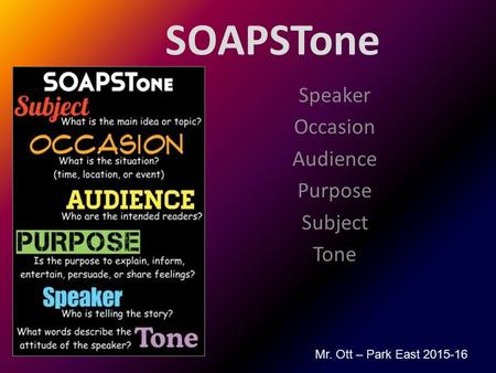 SOAPSTone Speaker Occasion Audience Purpose Subject Tone Mr. Ott – Park East 2015-16.