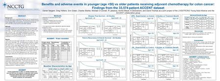 Age > 50 Abstract Background Limited data exists regarding outcomes and AT benefit/toxicity in Y pts with stage II and III CC. We examined overall survival.