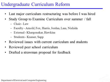 Department of Electrical and Computer Engineering Undergraduate Curriculum Reform Last major curriculum restructuring was before I was hired Study Group.