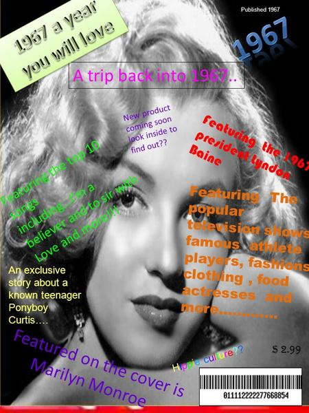 $ 2.99 Featured on the cover is Marilyn Monroe A trip back into 1967.. Featuring the top 10 songs including…I'm a believer and to sir with Love and more!!!