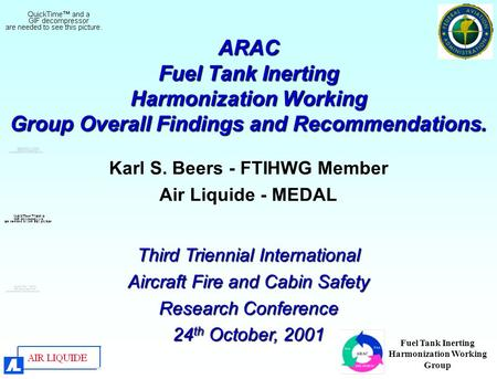 Fuel Tank Inerting Harmonization Working Group ARAC Fuel Tank Inerting Harmonization Working Group Overall Findings and Recommendations. Karl S. Beers.