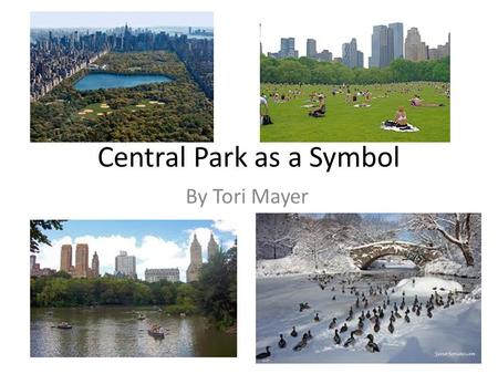 Central Park as a Symbol By Tori Mayer. Explanation Central Park symbolizes multiple thing in The catcher in the Rye. Some of those being loneliness and.