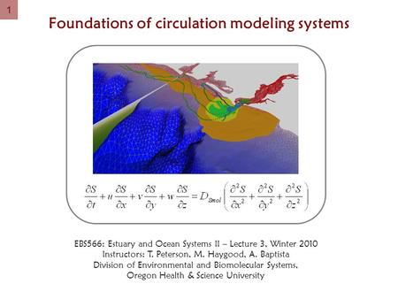1 Foundations of circulation modeling systems EBS566: Estuary and Ocean Systems II – Lecture 3, Winter 2010 Instructors: T. Peterson, M. Haygood, A. Baptista.