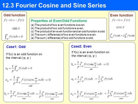 12.3 Fourier Cosine and Sine Series Odd function Even function (a) The product of two even functions is even. (b) The product of two odd functions is even.