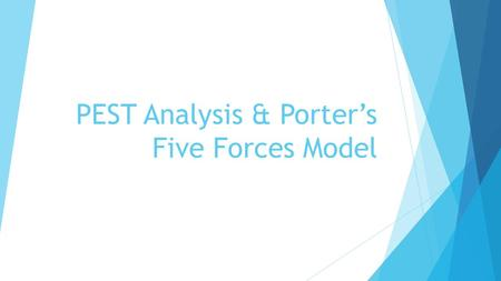 PEST Analysis & Porter's Five Forces Model. PEST ANALYSIS The general environment of an organizations consists of the external conditions that set the.
