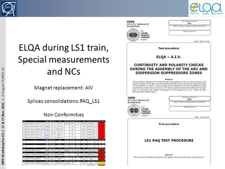 MPE Workshop for LS1 / 22 & 23 Nov. 2012, G. D'Angelo TE/MPE-EE ELQA during LS1 train, Special measurements and NCs Magnet replacement: AIV Splices consolidations: