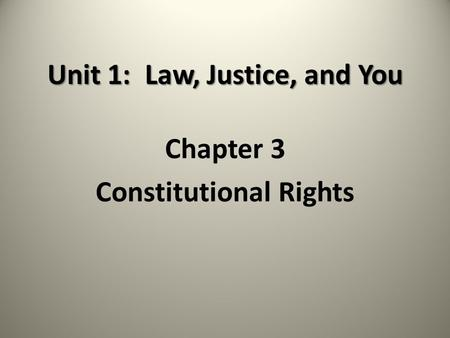 Unit 1: Law, Justice, and You Chapter 3 Constitutional Rights.