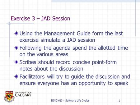 SENG 613 - Software Life Cycles1 Exercise 3 – JAD Session Using the Management Guide form the last exercise simulate a JAD session Following the agenda.