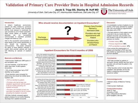 Discussion A considerable number of patients do not identify a PCP when admitted for inpatient care, and not all follow-up appointments take place with.