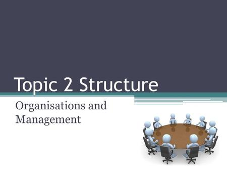 Topic 2 Structure Organisations and Management. Structure of Topic 2 Organisations and management The Nature of Organisations Management.