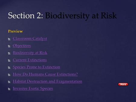 Preview  Classroom Catalyst Classroom CatalystClassroom Catalyst  Objectives Objectives  Biodiversity at Risk Biodiversity at RiskBiodiversity at Risk.