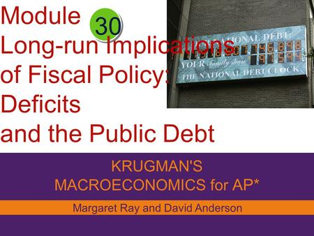 KRUGMAN'S MACROECONOMICS for AP* 30 Margaret Ray and David Anderson Module Long-run Implications of Fiscal Policy: Deficits and the Public Debt.