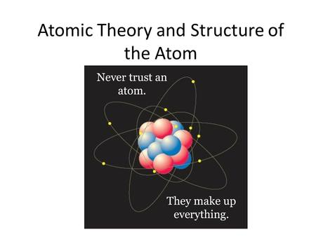 Atomic Theory and Structure of the Atom. first to suggest the existence of atoms believed atoms were small indivisible particles Atom: smallest particle.