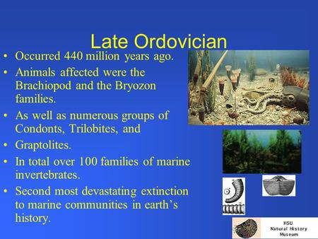 Late Ordovician Occurred 440 million years ago. Animals affected were the Brachiopod and the Bryozon families. As well as numerous groups of Condonts,