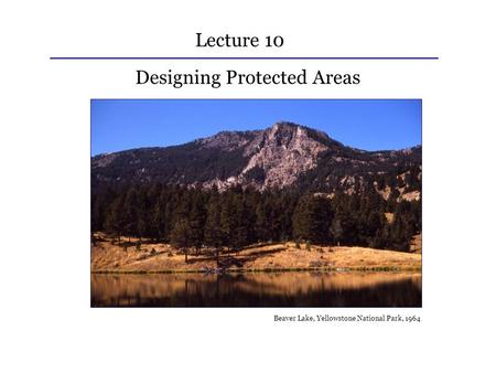 Lecture 10 Designing Protected Areas Beaver Lake, Yellowstone National Park, 1964.