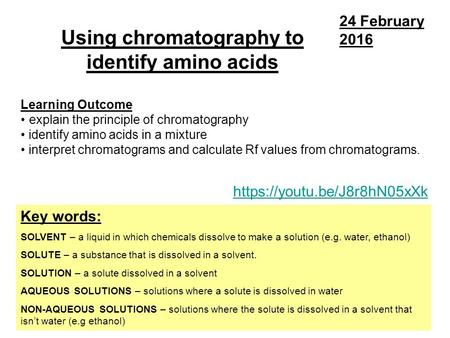 Using chromatography to identify amino acids Key words: SOLVENT – a liquid in which chemicals dissolve to make a solution (e.g. water, ethanol) SOLUTE.