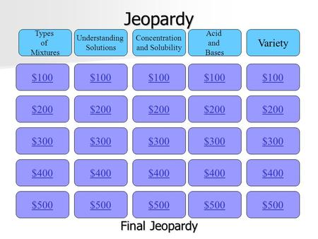 Jeopardy $100 Types of Mixtures Understanding Solutions Concentration and Solubility Acid and Bases Variety $200 $300 $400 $500 $400 $300 $200 $100 $500.
