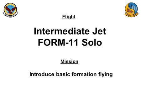 Flight Mission Intermediate Jet FORM-11 Solo Introduce basic formation flying.