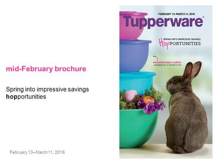 Mid-February brochure February 13–March 11, 2016 Spring into impressive savings hopportunities.