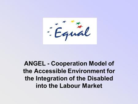 ANGEL - Cooperation Model of the Accessible Environment for the Integration of the Disabled into the Labour Market.