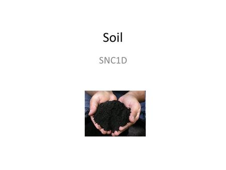 Soil SNC1D. Sand, Silt, and Clay The mineral part of soil is pieces of broken-down rocks. Largest pieces are sand, small pieces are clay, and the intermediate.