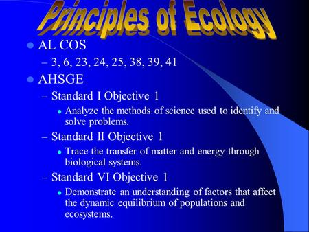 AL COS – 3, 6, 23, 24, 25, 38, 39, 41 AHSGE – Standard I Objective 1 Analyze the methods of science used to identify and solve problems. – Standard II.