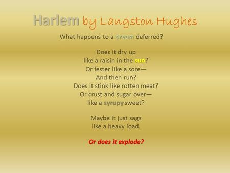 Harlem Harlem by Langston Hughes dream What happens to a dream deferred? Does it dry up sun like a raisin in the sun? Or fester like a sore— And then run?