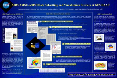 AIRS/AMSU-A/HSB Data Subsetting and Visualization Services at GES DAAC Sunmi Cho, Jason Li, Donglian Sun, Jianchun Qin and Carrie Phelps, Code 902, NASA.