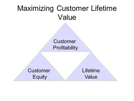 Maximizing Customer Lifetime Value Customer Profitability Customer Equity Lifetime Value.