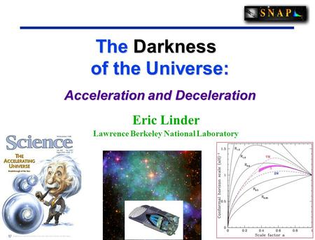 1 1 The Darkness of the Universe: The Darkness of the Universe: Acceleration and Deceleration Eric Linder Lawrence Berkeley National Laboratory.